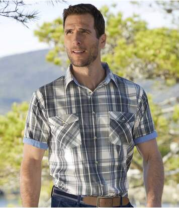 Men's Blue Checked Shirt - Roll-Up Sleeves