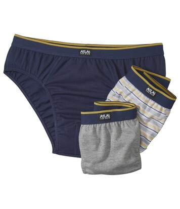 Pack of 3 Men's Comfort Briefs - Navy Grey Striped