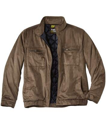 Men's Camel Faux-Suede Padded Jacket - Water-Repellent