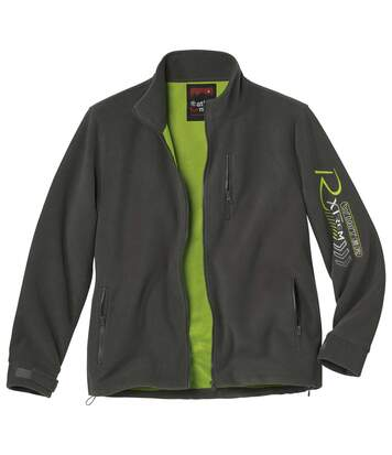 Men's Mesh-Lined Fleece Jacket - Anthracite Green - Full Zip