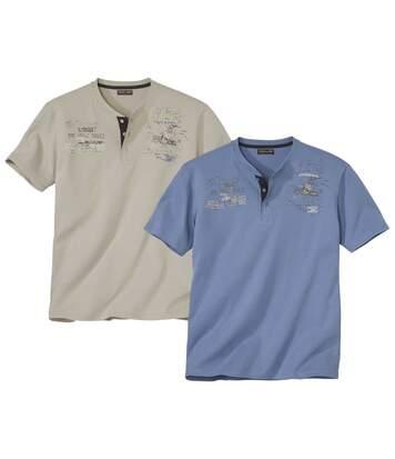 2er-Pack T-Shirts Abenteurer mit Henley-Kragen