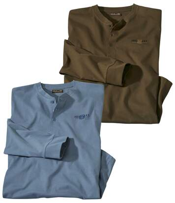 Pack of 2 Men's Long-Sleeve Button-Neck Tops - Blue Brown