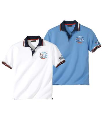 Pack of 2 Men's Pacific Surf Polo Shirts - White Blue