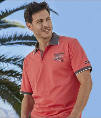 Pack of 2 Men's Mediterranean Jersey Polo Shirts - Coral Grey